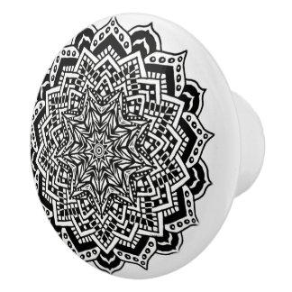 Ceramic Knob Black and White Mandala Design