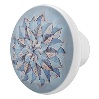 Ceramic Knob Blue Floral Abstract Painting