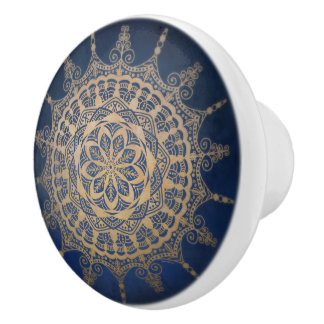 Ceramic Knob Blue Golden Design
