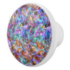 Ceramic Knob Floral Abstract Stained Glass