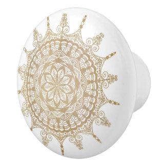 Ceramic Knob Golden Mandala Design
