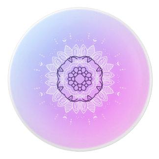 Ceramic knob : pink purple Mandala art