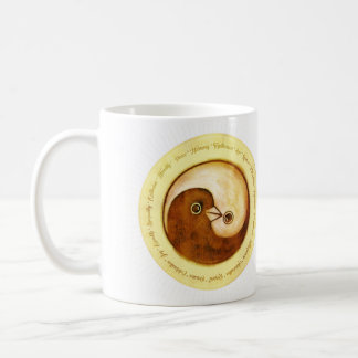 Ceramic mug Yin Yang gold peace doves