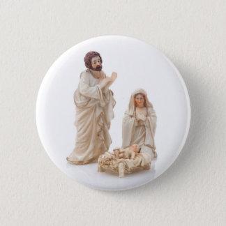 Ceramic nativity scene 6 cm round badge