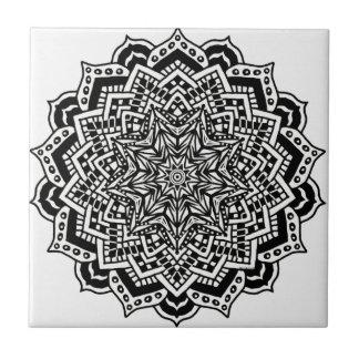 Ceramic Photo Tile Black Mandala Design