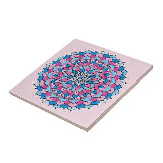 Ceramic Photo Tile Pink and Blue Design