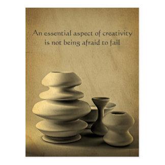 Ceramic Pottery Still Life Charcoal Pencil Sketch Postcard
