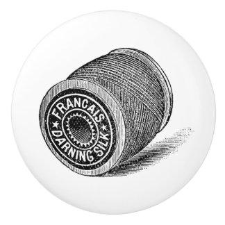 Ceramic Pull - Vintage Sewing Theme, Thread Spool