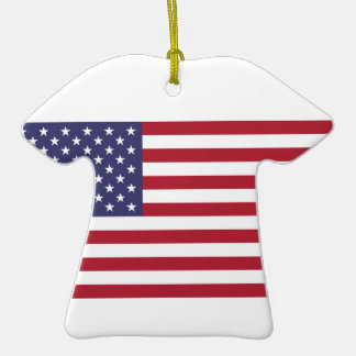 Ceramic Sports Shirt With American Flag Christmas Tree Ornaments