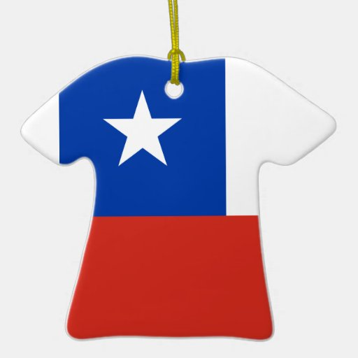 Ceramic Sports Shirt With Chile Flag Christmas Tree Ornament