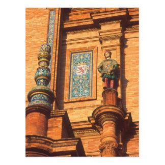 Ceramic statue detail on the Plaza de Espana in Postcard