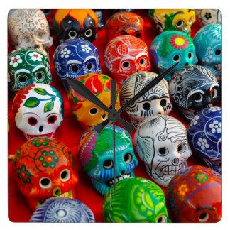Ceramic Sugar Skulls in Mexico Wallclock