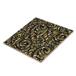 Ceramic Tile - Drama in Black and Gold