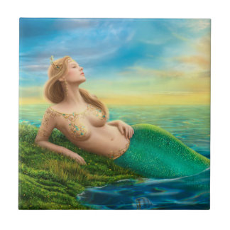 Ceramic  Tile fantasy mermaid at sunset