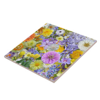 Ceramic Tile - Flowers and Butterflies