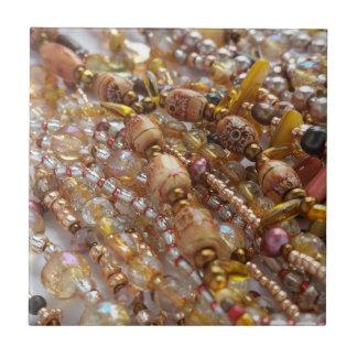Ceramic Tile- Natural Earth Tones Bead Print Ceramic Tile