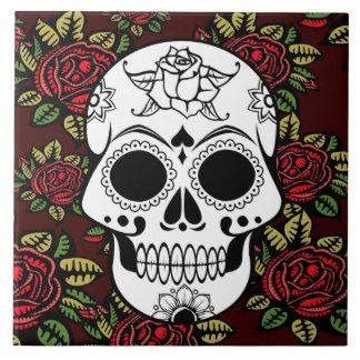 ceramic tile Retro art red roses  sugar skull