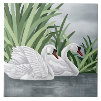 Ceramic Tile Swan Art