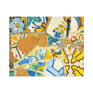 Ceramic Tiles in Parc Guell in Barcelona Spain Canvas Print