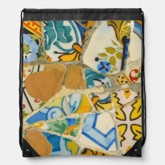 Ceramic Tiles in Parc Guell in Barcelona Spain Drawstring Bag
