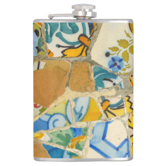 Ceramic Tiles in Parc Guell in Barcelona Spain Hip Flask