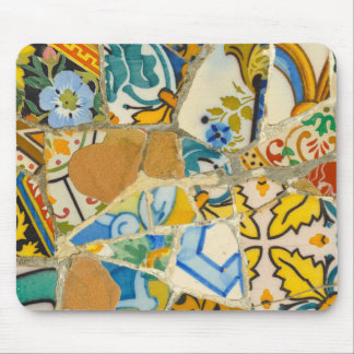 Ceramic Tiles in Parc Guell in Barcelona Spain Mouse Pad