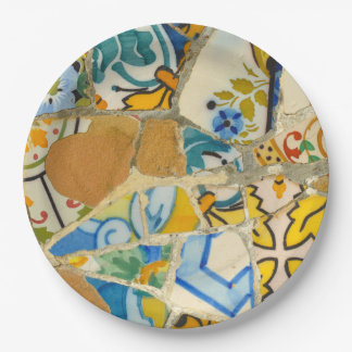 Ceramic Tiles in Parc Guell in Barcelona Spain Paper Plate