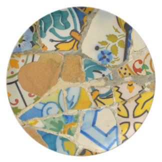 Ceramic Tiles in Parc Guell in Barcelona Spain Plate
