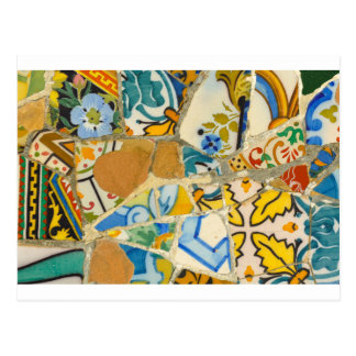 Ceramic Tiles in Parc Guell in Barcelona Spain Postcard