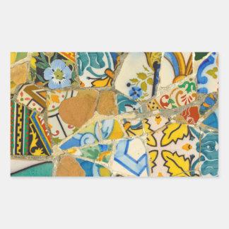 Ceramic Tiles in Parc Guell in Barcelona Spain Rectangular Sticker
