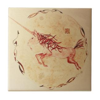 ceramic watercolour mythology Ireland unicorn Small Square Tile