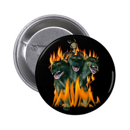Cerberus In Hell Pinback Buttons
