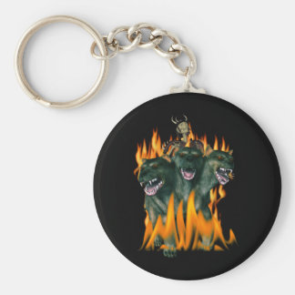 Cerberus In Hell Basic Round Button Key Ring