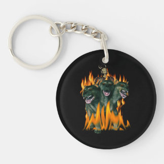Cerberus In Hell Double-Sided Round Acrylic Key Ring