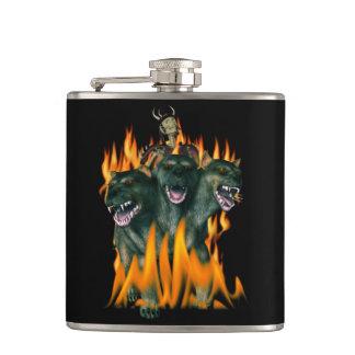 Cerberus In Hell Hip Flasks