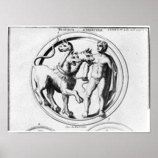 Cerberus Tamed by Hercules Posters