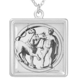 Cerberus Tamed by Hercules Square Pendant Necklace