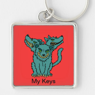 Cerberus - The Three Headed Hell Hound Silver-Colored Square Key Ring