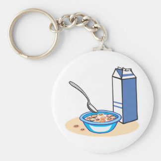 cereal and milk basic round button key ring