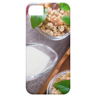 Cereal with walnuts and raisins, yogurt and apples iPhone 5 covers