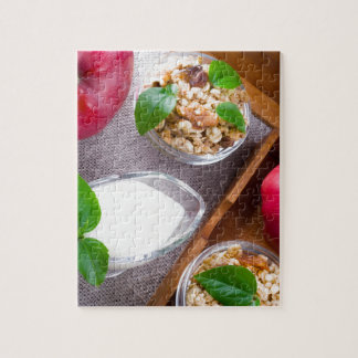 Cereal with walnuts and raisins, yogurt and apples jigsaw puzzle