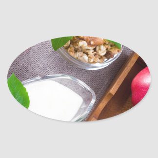 Cereal with walnuts and raisins, yogurt and apples oval sticker
