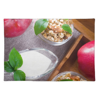 Cereal with walnuts and raisins, yogurt and apples placemat