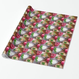 Cereal with walnuts and raisins, yogurt and apples wrapping paper