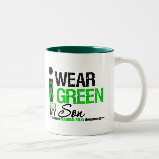 Cerebral Palsy I Wear Green Ribbon For My Son Two-Tone Mug