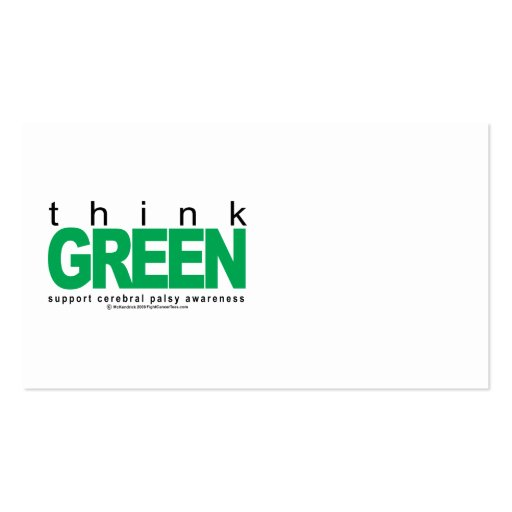 Cerebral Palsy THINK Green Business Card Template