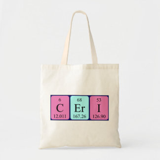 Ceri periodic table name tote bag