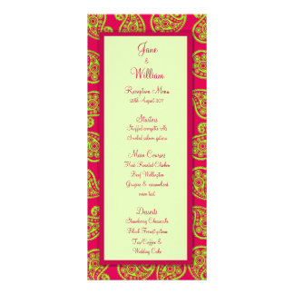 Cerise and Lime Paisley Pattern Wedding Menu Rack Card Design