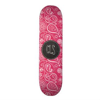 Cerise Paisley Floral Retro Chalkboard Skate Boards