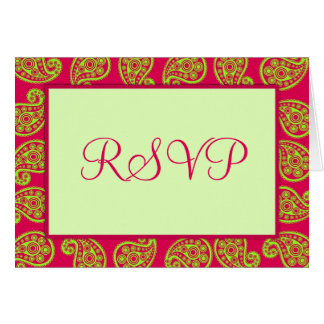 Cerise Pink & Lime Paisley Pattern RSVP Notecard